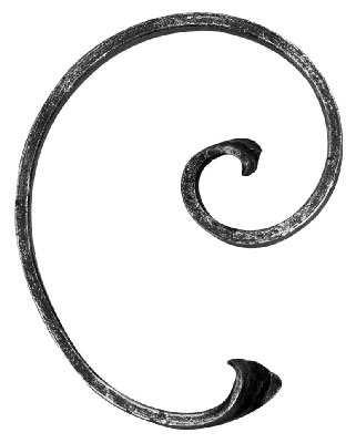 Schnecke | Maße: 150x115 mm | Material 12x5 mm | Stahl S235JR, roh
