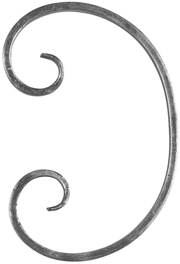 Schnecke | Maße: 250x165 mm | Material: 16x8 mm, glatt | Stahl S235JR, roh