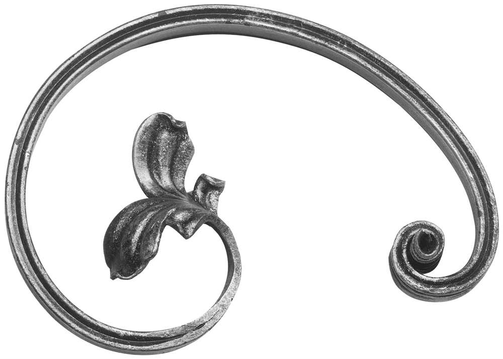 Barockelement | rechts | Schwerbarock | Maße: 130x195 mm | Material: 16x8 mm | Stahl S235JR, roh