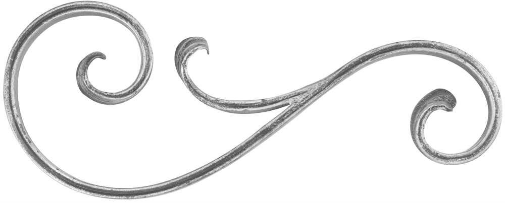 Schwerbarock | Maße: 135x345 mm | Material: 16x8 mm, gerillt | Stahl S235JR, roh