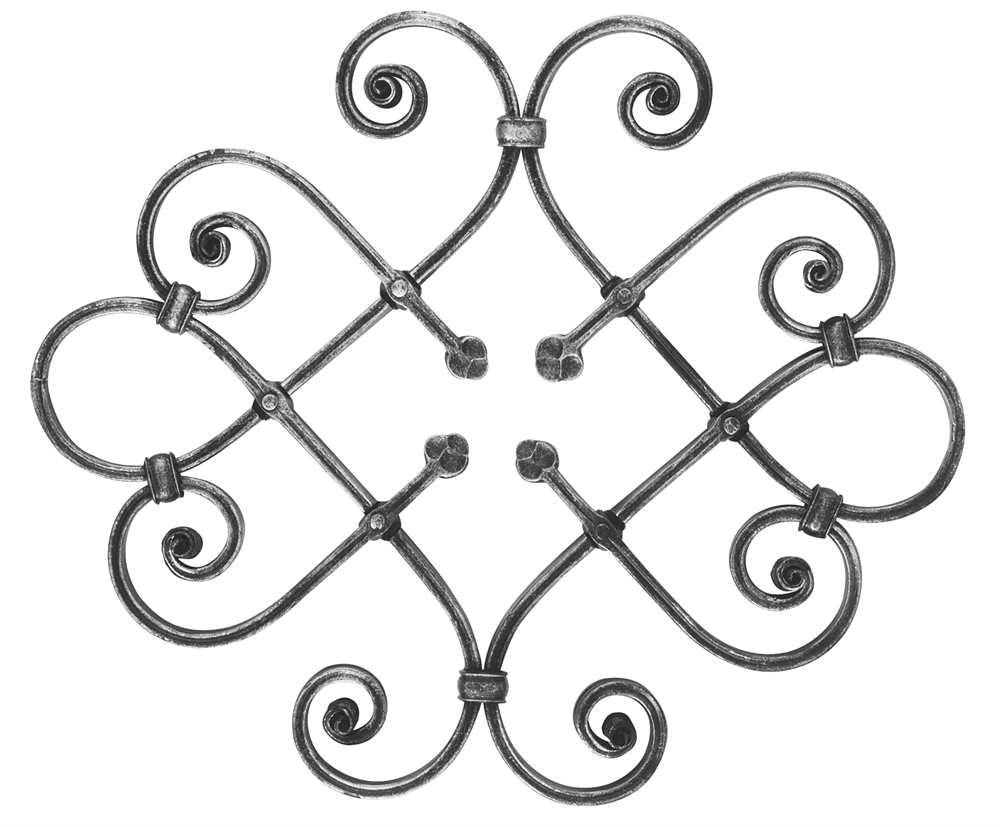 Schwerbarock | Maße: 405x480 mm | Material: 16x8 mm, gerillt | Stahl S235JR, roh