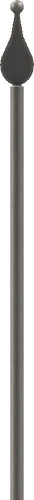 Zaunstab | Länge: 1200 mm | Material Ø 14 mm + Spitze mit Kugel | Stahl S235JR, roh