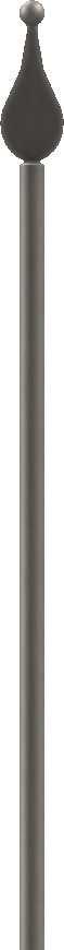 Zaunstab | Länge: 1200 mm | Material Ø 12 mm + Spitze mit Kugel | Stahl S235JR, roh