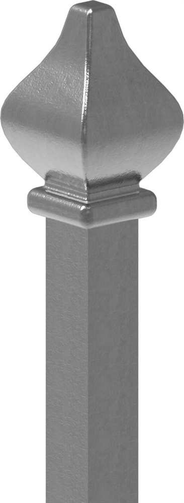 Zaunstab | Länge: 1200 mm | Material 12x12 mm + Zierteil | Stahl S235JR, roh