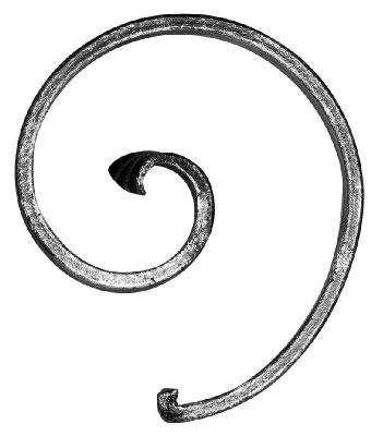 Zierschnecke (rechts) | Maße: 130x115 mm | Stahl (Roh) S235JR
