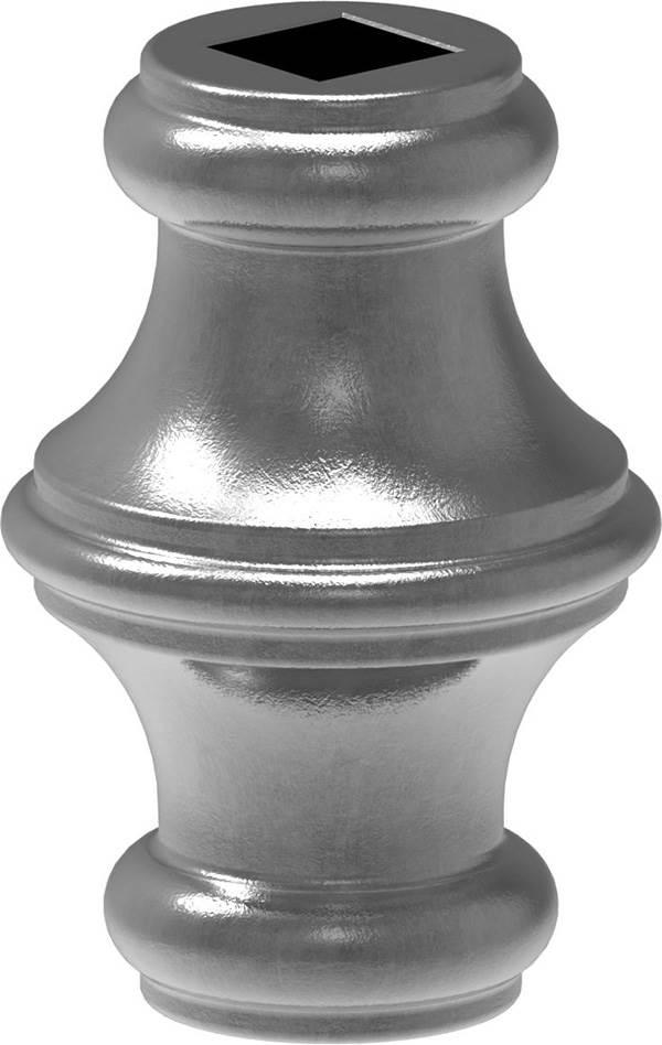 Zierhülse | Maße: 45x67 mm | Lochung: 12,5x12,5 mm | Stahl S235JR, roh