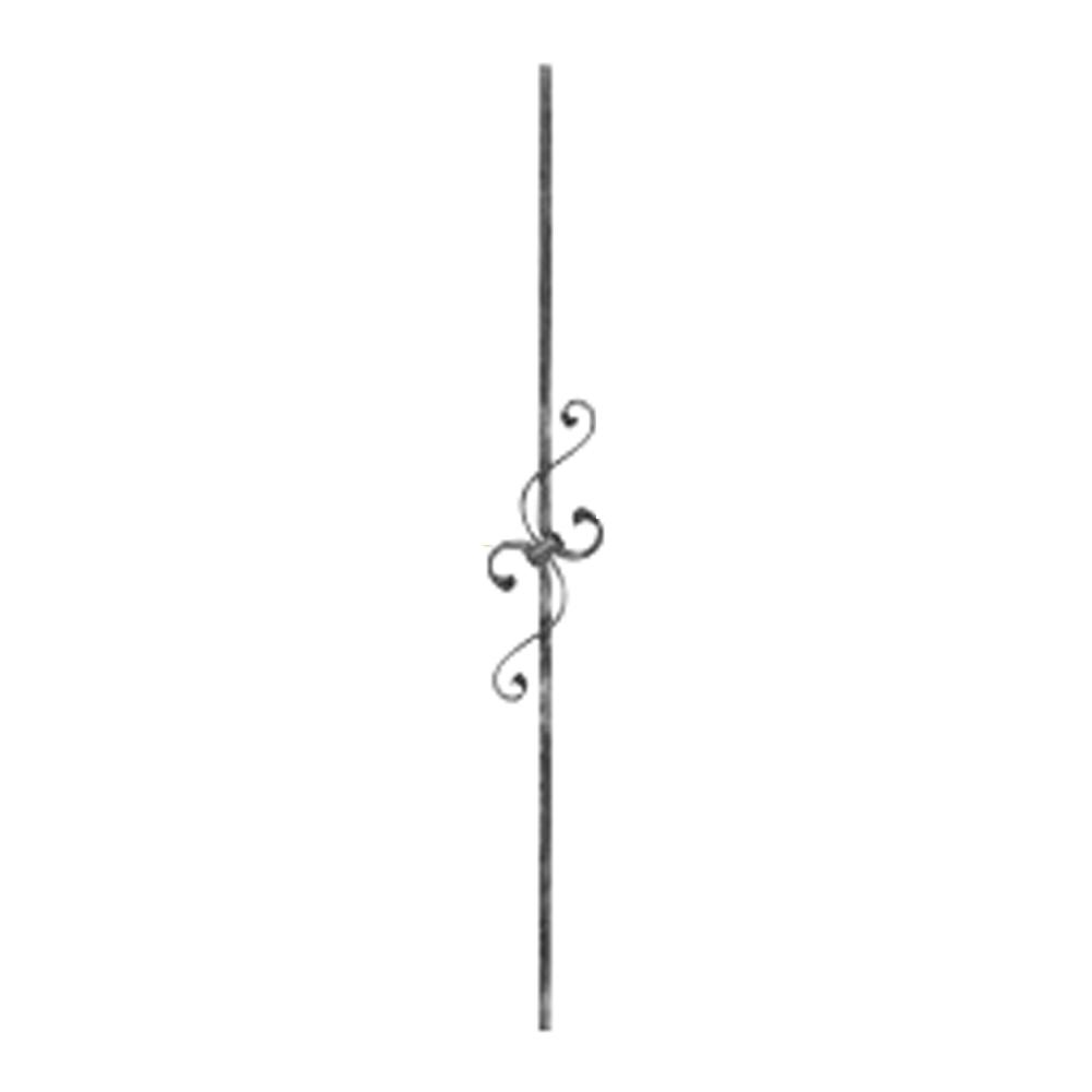 Zierstab 900 mm | Material 12x12 mm gehämmert | Stahl S235JR, roh