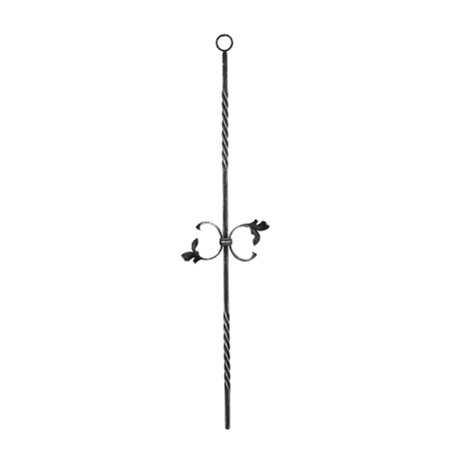 Zierstab | Länge: 900 mm | Material: 12x12 mm gerillt | Stahl S235JR, roh