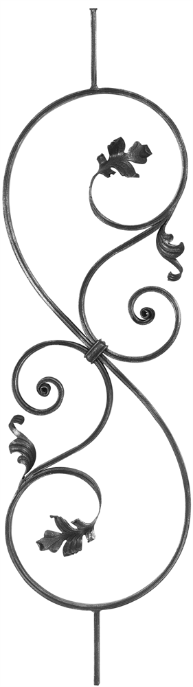 Zierstab | Länge: 900 mm | Material: 16x8 mm gerillt | Stahl S235JR, roh