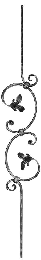 Zierstab | Länge: 900 mm | Material: 16x8 mm gehämmert | Stahl S235JR, roh