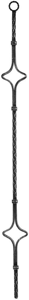 Zierstab | Länge: 900 mm | Material: 12x12mm | gehämmert | Stahl (Roh) S235JR